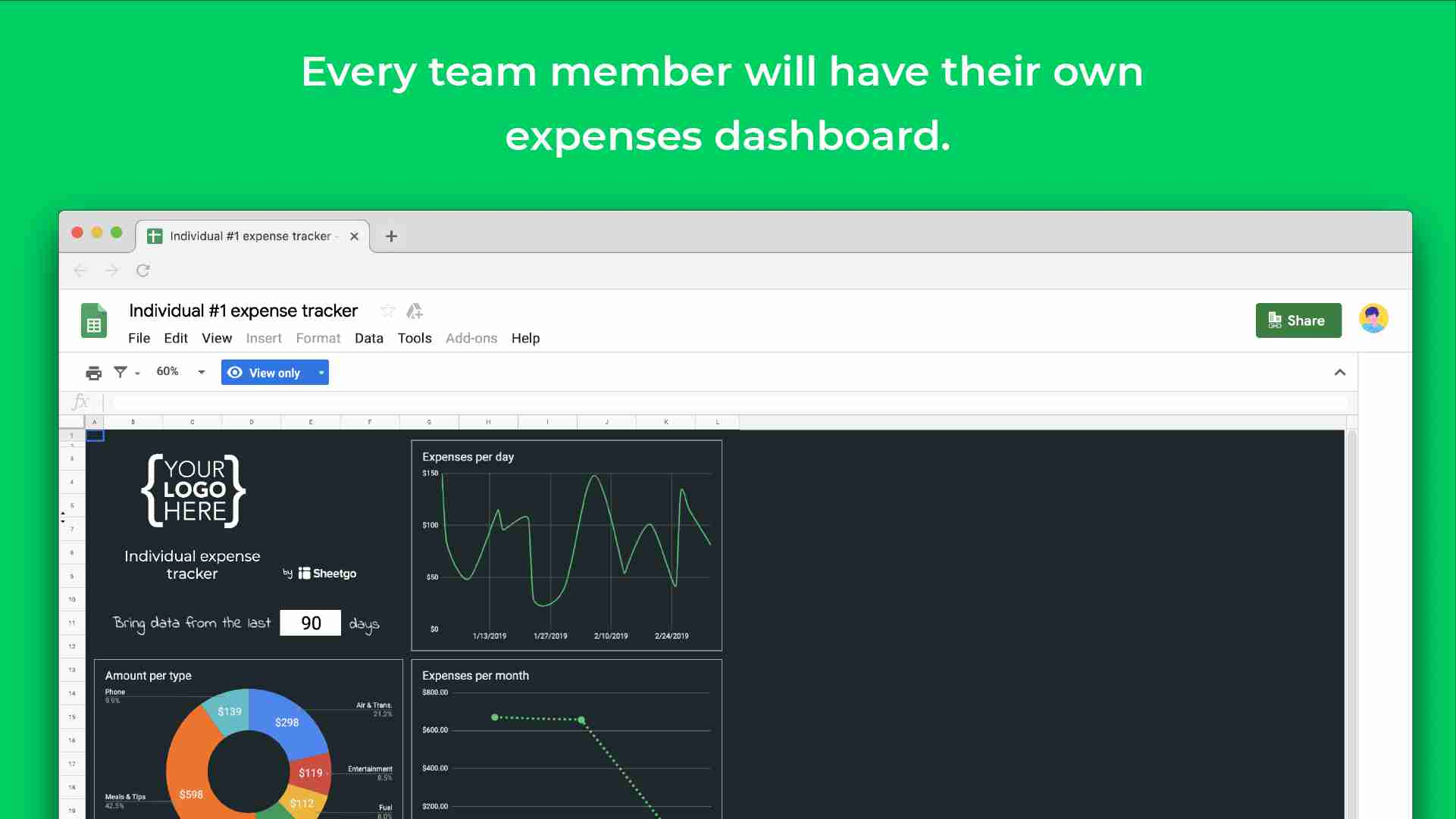 expense tracker template dashboard