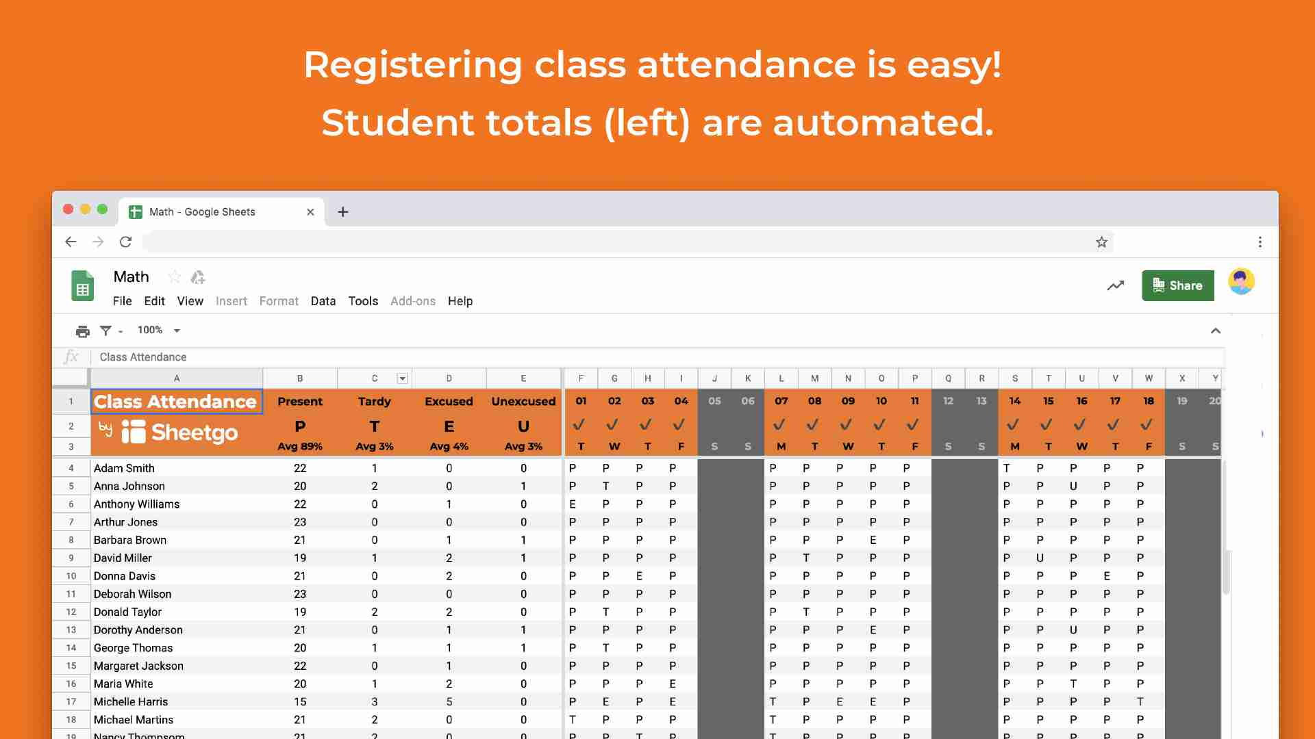 Attendance classes template in google sheets