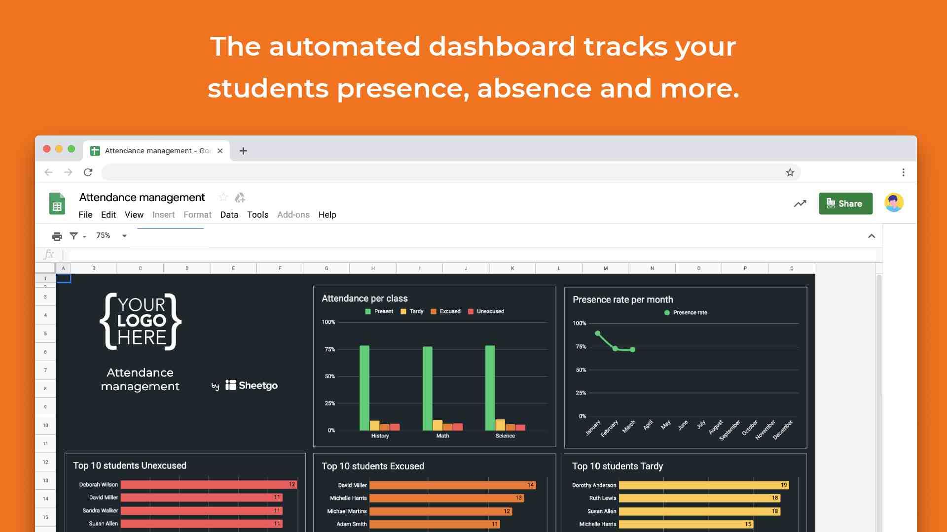 Attendance dashboard template google sheets