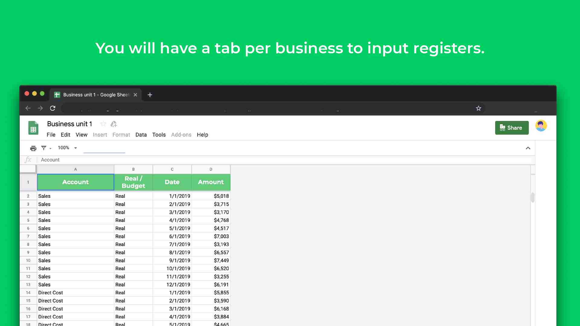 template to manage multiple businesses register income and expenses