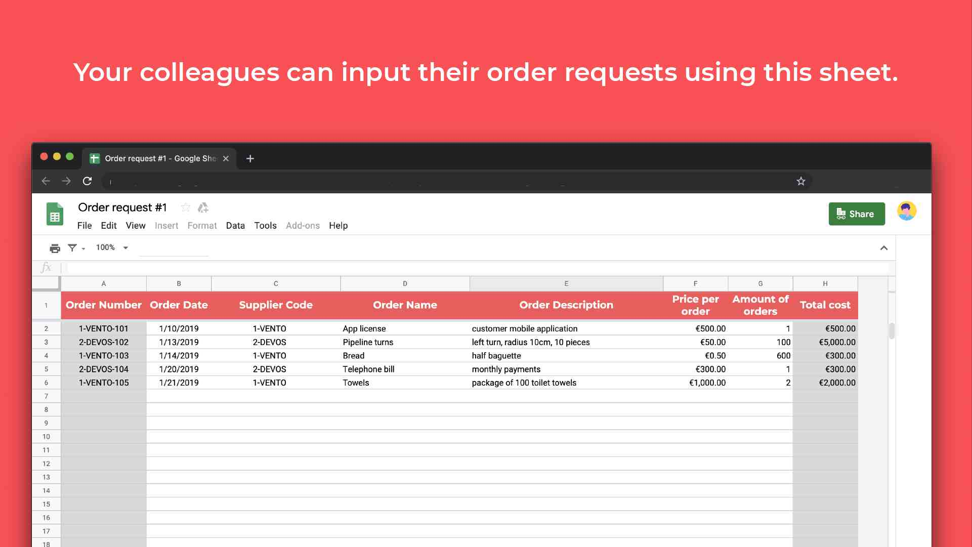 Purchase order management template input requests