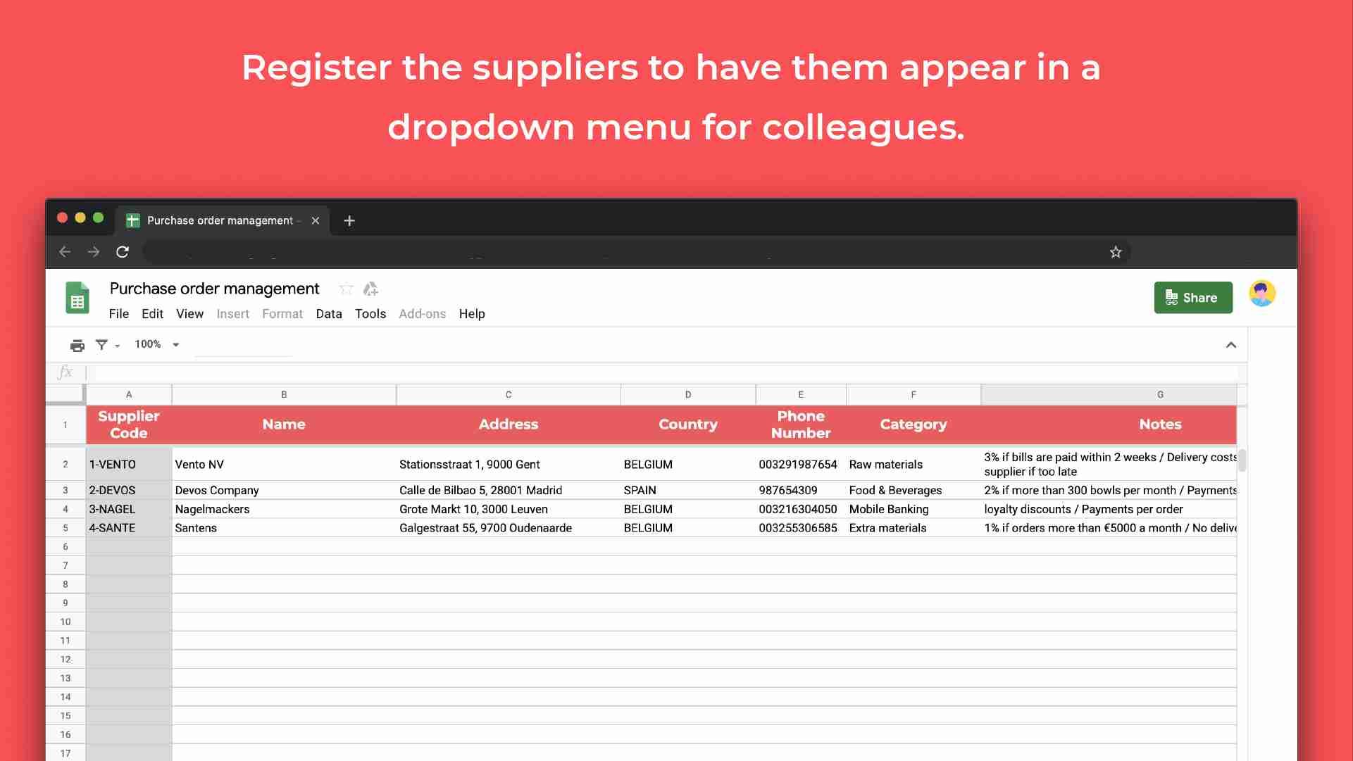 Purchase order management template dropdown menu