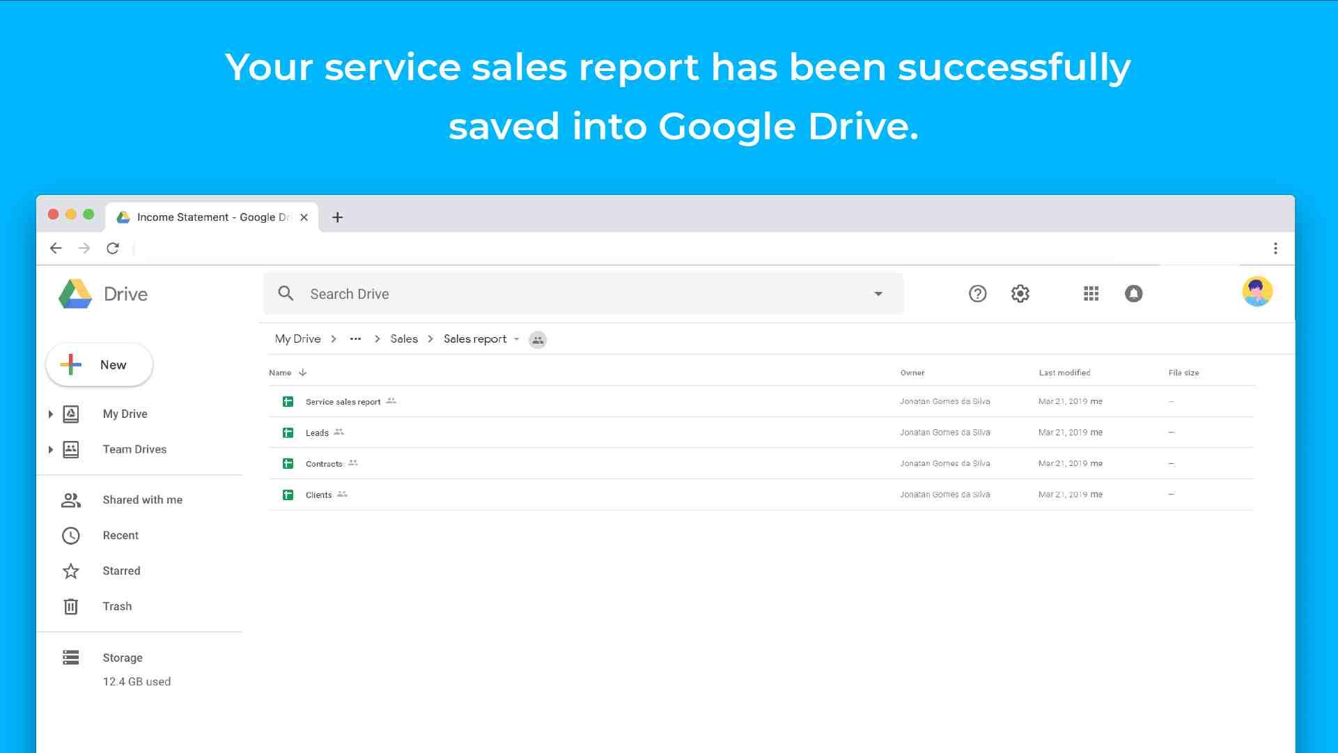 service sales report template files