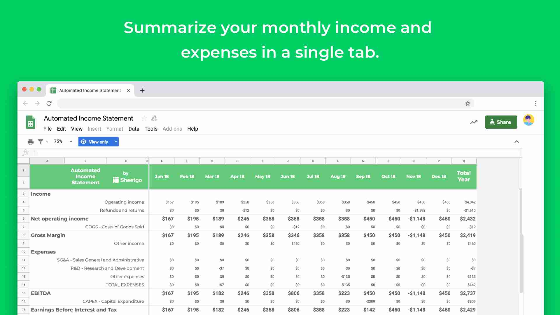 Automated Income Statement Template Google Sheets