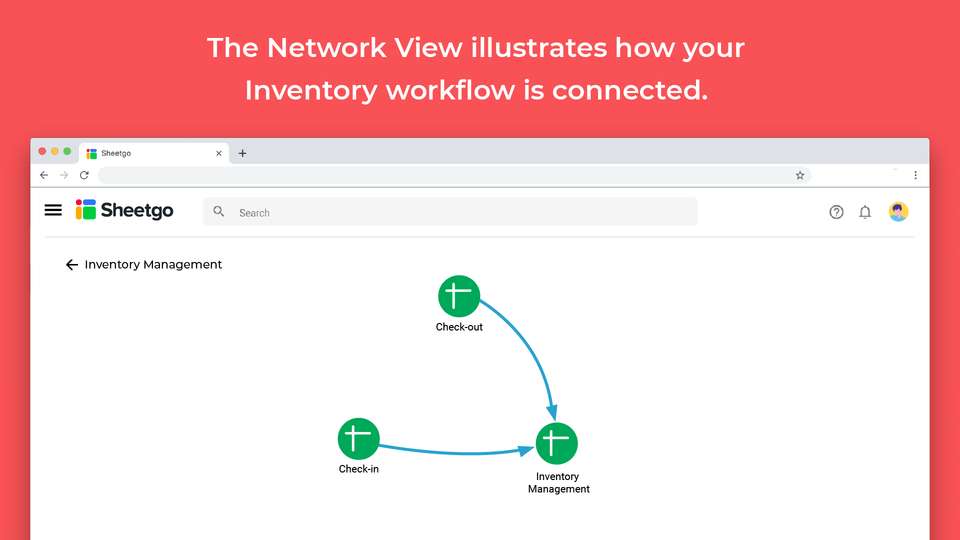 inventory template connected with check in and check out