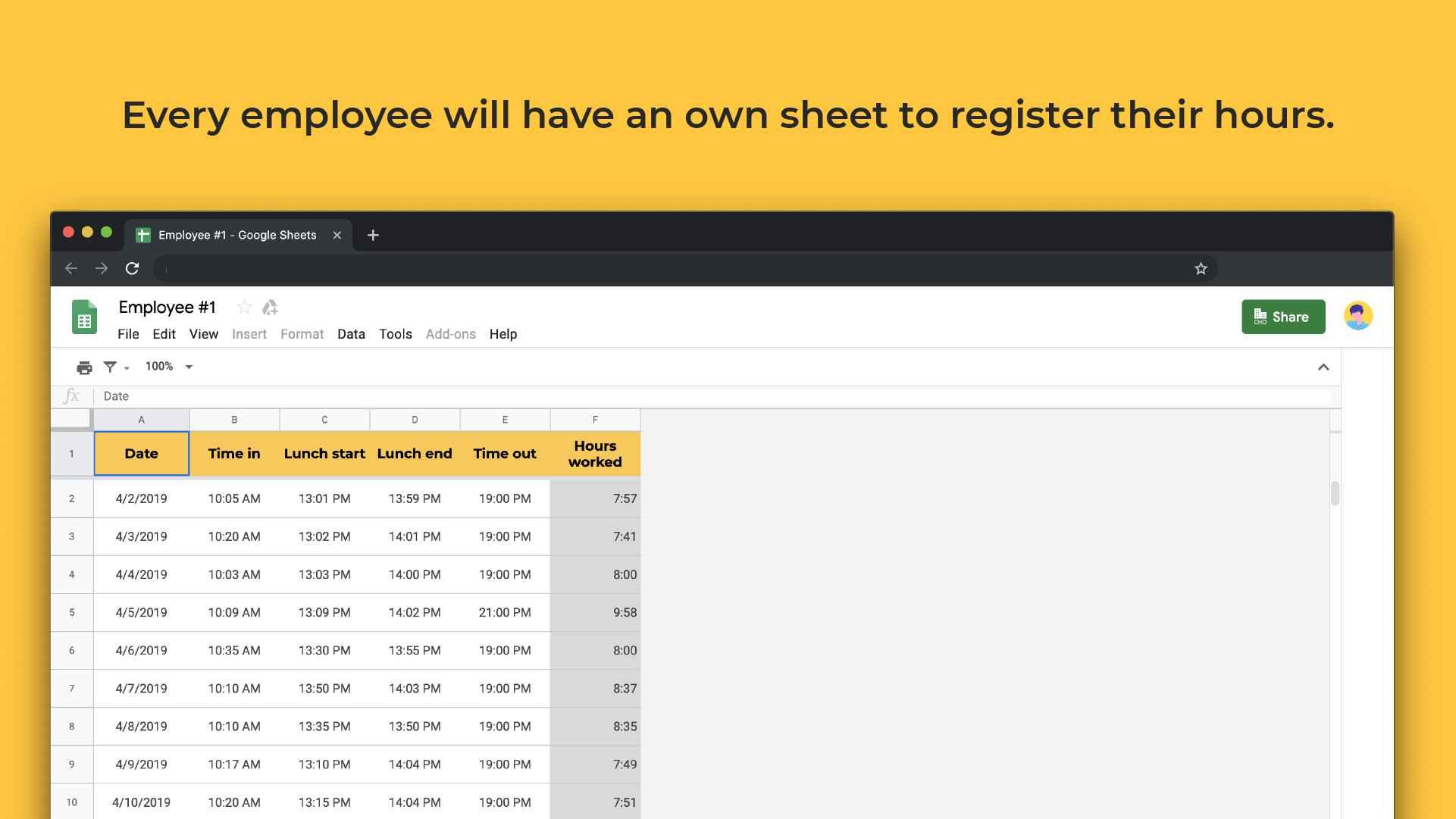 Employee timesheet template register