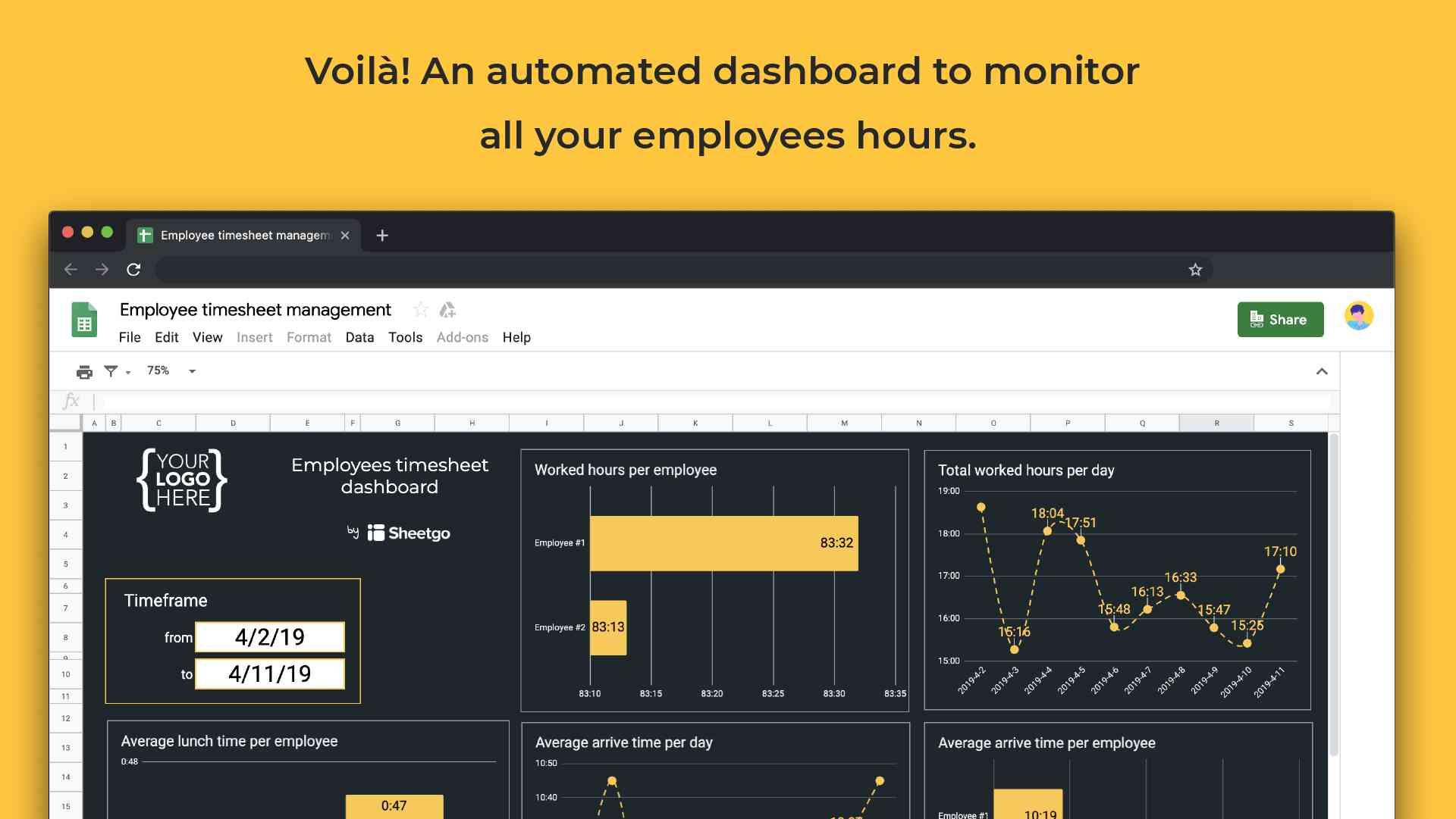 Employee timesheet template dashboard