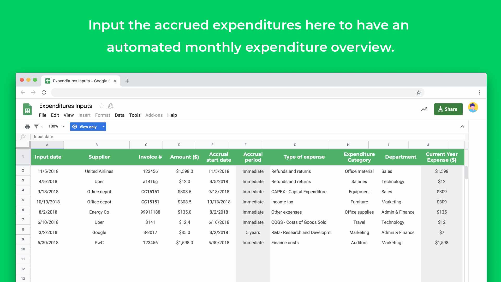 income statement template google sheets
