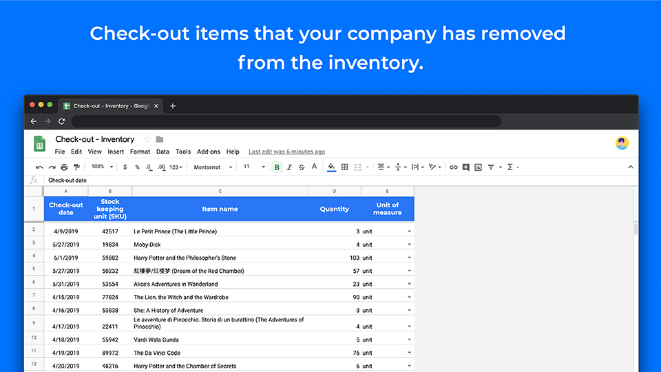 Inventory template check-out