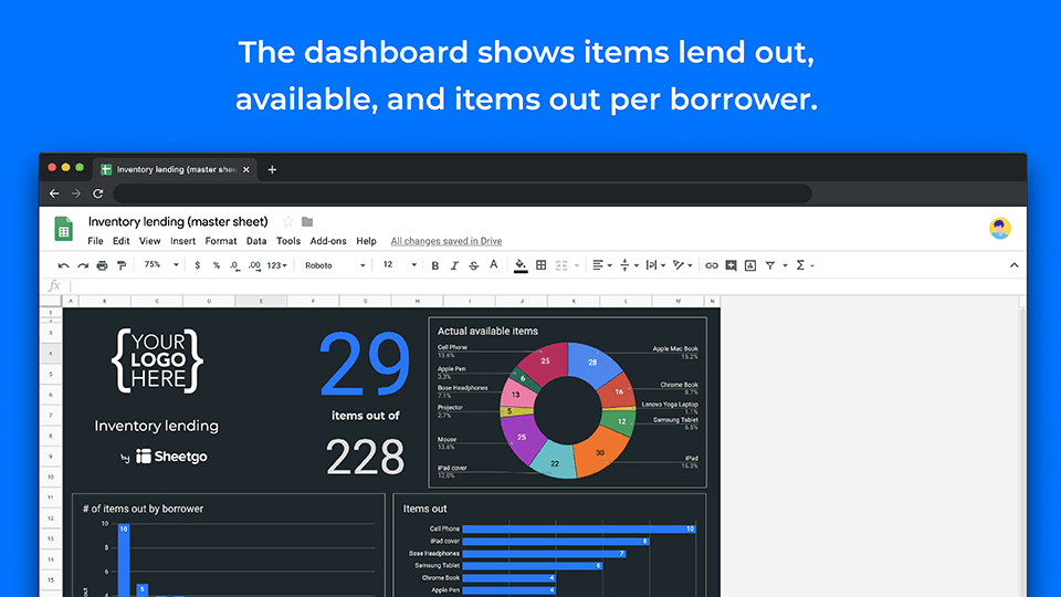 Inventory lending template dashboard