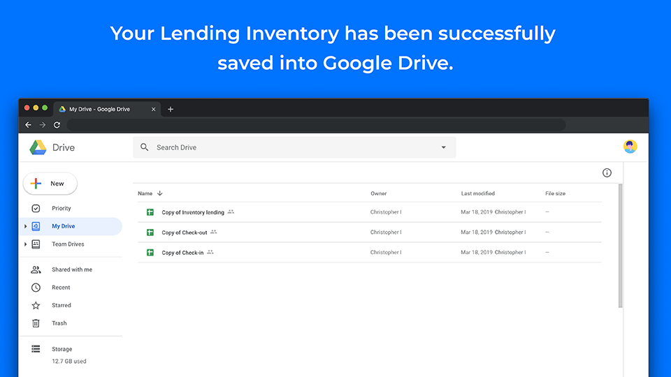Inventory lending template in Drive